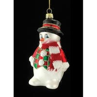 "4.5"" Noble Gems Glass Snowman with Red and White Scarf Christmas Ornament"