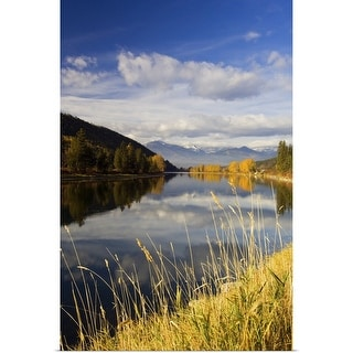 """""""Clouds and distant snowcapped mountains reflected in Kootenai River, Montana"""" Poster Print"""