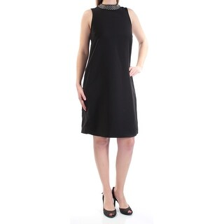 Womens Black Sleeveless Above The Knee Shift Cocktail Dress Size: 8
