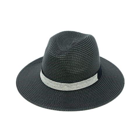 ChicHeadwear Womens 100% Paper Panama Hat w/ Rhinestone Band