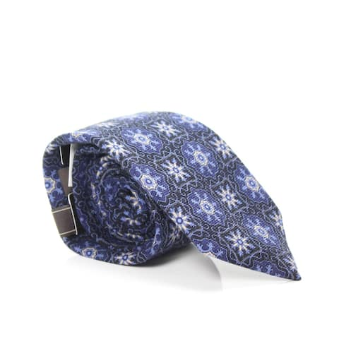 Tasso Elba Men's Neck Tie Blue Wool One Size Valente Medallion Woven