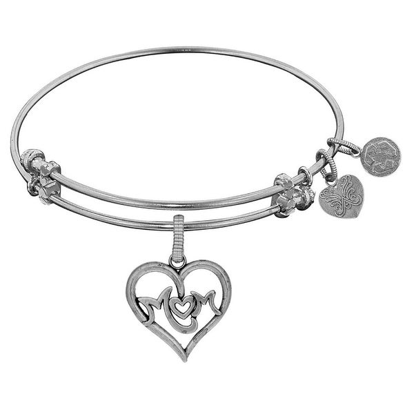 Angelica White Rhodium M-Heart-M Mom Charm Adjustable Bangle Bracelet