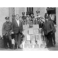 Policemen with Collected Moonshine - Vintage Photo (Art Print - Multiple Sizes)
