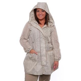 Piazza Sempione Removable Hood Zipper Rain Coat Raincoat 8110