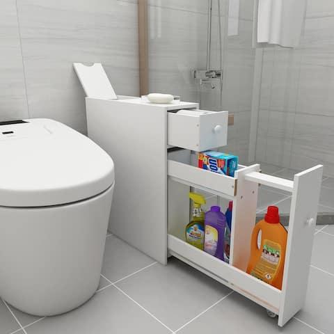 Nestfair Small Bathroom Corner Cabinet with Movable Racks
