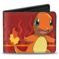Charmander Pose + Text Stripe Flames Reds Oranges White Bi Fold Wallet - One Size Fits most