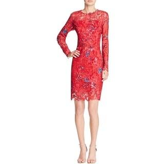 Elie Tahari Womens Starla Cocktail Dress Lace Floral Print
