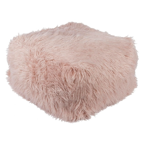 Shop 40 Blush Pink Faux Fur Indoor Square Pouf Ottoman With Knife Enchanting Faux Fur Pouf Ottoman