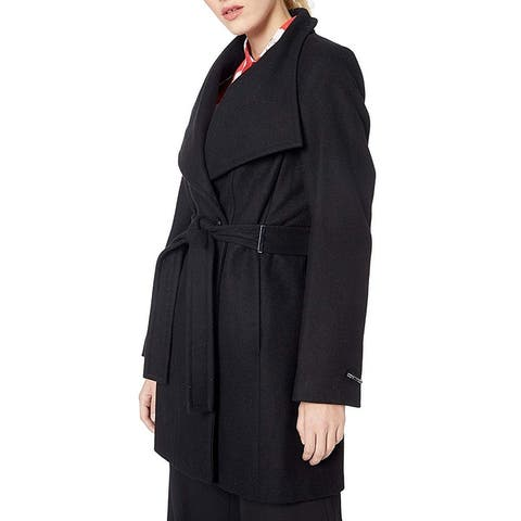 Calvin Klein Women's Coat Black Size XS Wool Wrap Flare Toggle Neck