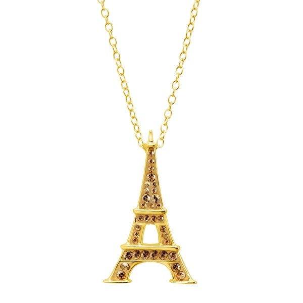 4481b4f06 Crystaluxe Eiffel Tower Pendant with Swarovski Crystals in 18K Gold-Plated  Sterling Silver - champagne