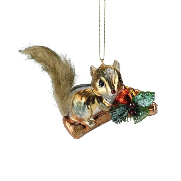 "4.5"" Fuzzy Tailed Glittery Glass Chipmunk with an Acorn Christmas Ornament - GOLD"