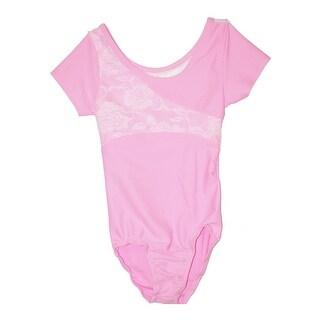 Girls Pink Floral Lace Panel Short Sleeved Dancewear Leotard