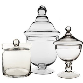 CYS® Glass Apothecary Jars/Vase Container for Candy Buffet, Set of 3
