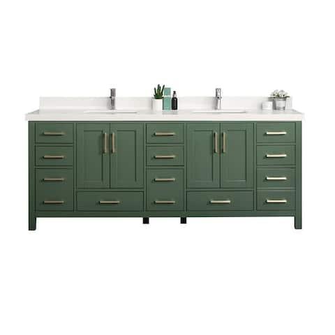 84 x 22 Malibu Double Bowl Sink Bathroom Vanity with 2 in Quartz