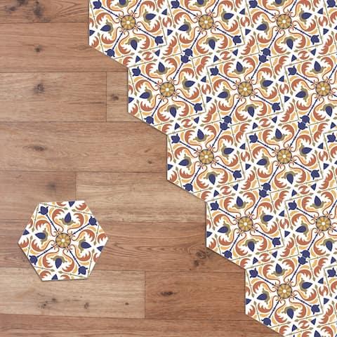Walplus Floral Pattern Hexagon Floor Tiles Stickers Home Decor DIY Art