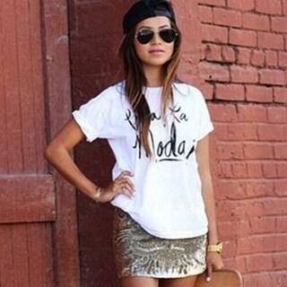 Womens White Letter Print T-Shirts Blouses B3