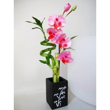 Shop 9greenbox Lucky Bamboo Spiral Style W Artificial Flowers