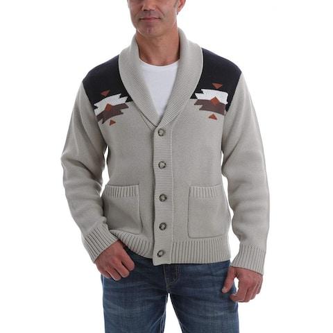 Cinch Western Sweater Men Long Sleeve Aztec Cardigan Button - Cream