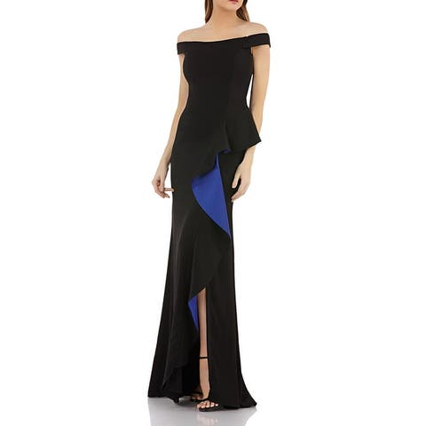 Carmen Marc Valvo Womens Formal Dress Off-The-Shoulder Ruffle