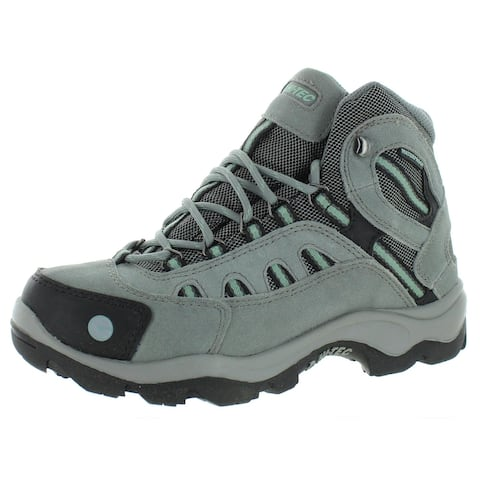 Hi-Tec Womens Work Boots Leather Arch Support - Gray/Light Green