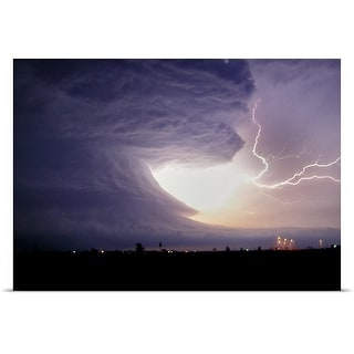 Poster Print entitled Storm clouds and lightning strike