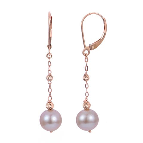 PearLustre by Imperial 14KR Pink FWP and Brilliance Bead Earrings