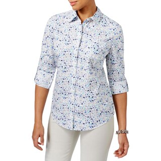 Karen Scott Womens Petites Button-Down Top Woven Floral Print White PS