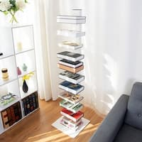 Costway 59'' Spine Book Tower 11 Shelf Bookcase Media Storage Floating Open CD Rack - White