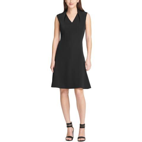 DKNY Womens Scuba Dress V-Neck Sleeveless