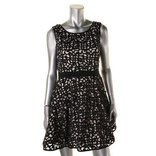 Xscape Womens Petites Laser Cut Mini Cocktail Dress