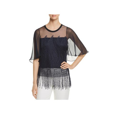 Elie Tahari Womens Noreen Blouse Fringe Embroidered