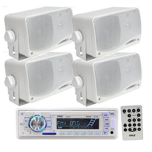 """In-Dash Marine AM/FM Radio USB/SD Stereo Player Recevier Aux-In for iPod/MP3 W/ Remote + 4 x 3.5"""" 200 Watt Waterproof Speakers"""
