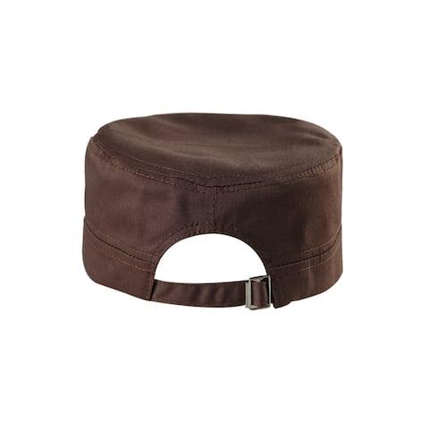 Unisex Cotton Flat Top Peaked Baseball Vintage Adjustable Cadet Cap Dark Brown
