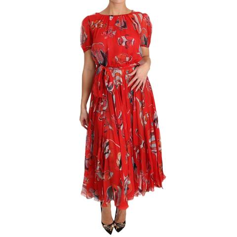 Dolce & Gabbana Red Silk Fish A-Line Shift Gown Women's Dress - it40-s