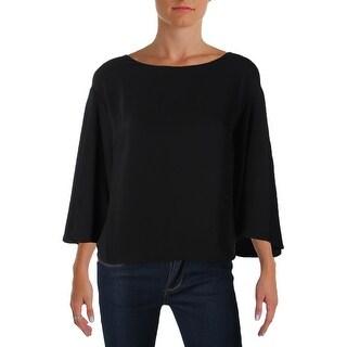Lauren Ralph Lauren Womens Lavinnia Pullover Top Crepe Bell-Sleeves