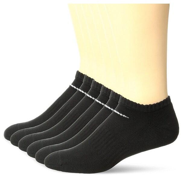 Nike Performance Cotton Cushioned NO SHOW Socks Black Large 8-12 6 Pack