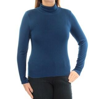 PLANET GOLD Womens New 1303 Blue Turtle Neck Long Sleeve Sweater L Juniors B+B