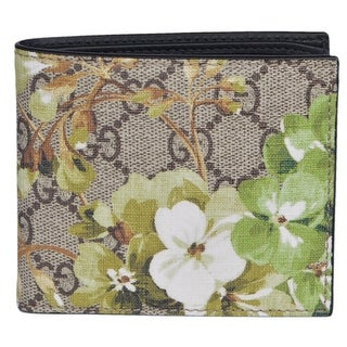 Gucci Men's 408666 GG Supreme Coated Canvas BLOOMS Bifold Wallet
