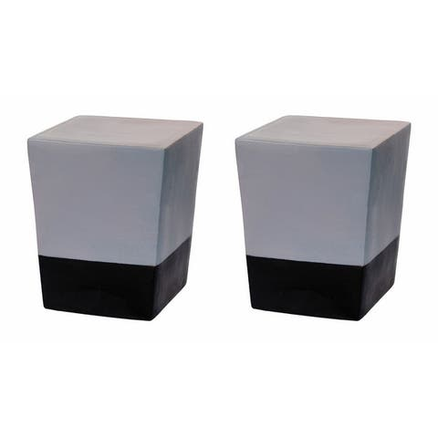 Indoor Outdoor Ceramic Cube Stool Set