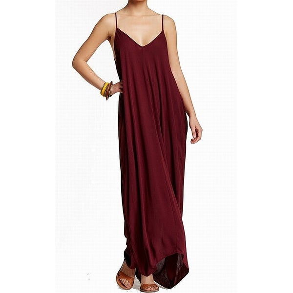 f03f610be8 Shop Love Stitch Red Womens Size S M V-Neck Textured Solid Maxi Dress -  Free Shipping On Orders Over  45 - Overstock - 22133606
