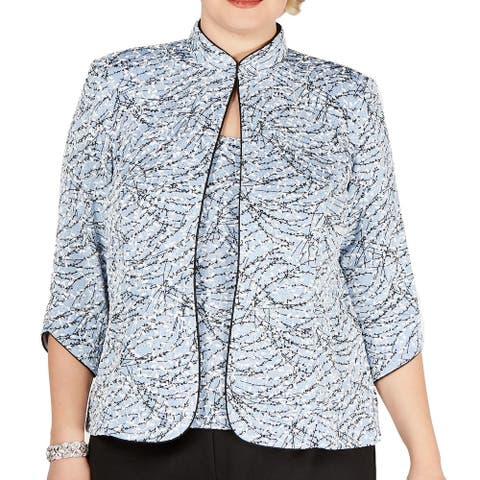Alex Evenings Womens Blouse Blue Size 2X Plus 2PC Shimmer Textured