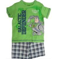 Disney Little Boys Lime Green Toy Story Character Print Plaid 2 Pc Shorts Set 2T-4T