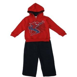 Marvel Little Boys Red Black Spiderman Hooded Jacket 2 Pc Pant Set