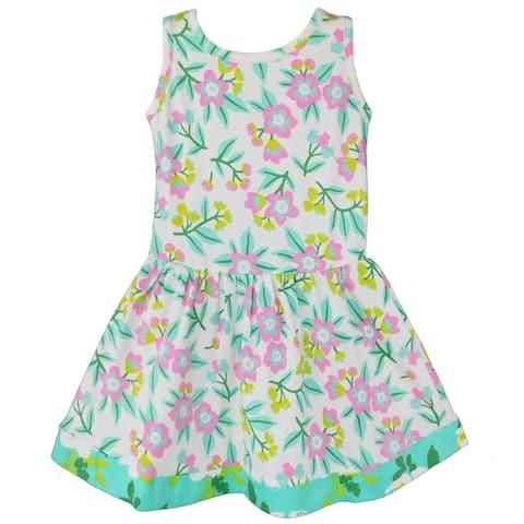 AnnLoren Little Girls Easter Dress Pastel Floral Cotton Knit Sleeveless Toddler Holiday Clothing