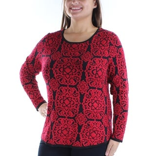 Womens Red Long Sleeve Jewel Neck Casual Sweater Size XL