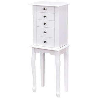 Costway Jewelry Cabinet Armoire Storage Box Chest Standing Organizer with Mirror White