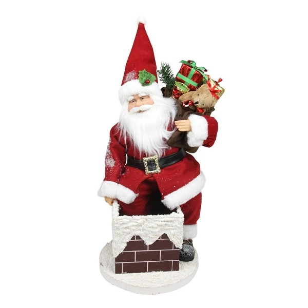 "16.5"" Animated Santa Claus Going Down a Chimney with Gifts Christmas Decoration"