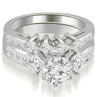 2.85 CT.TW Channel Set Princess and Round Cut Diamond Bridal Set in 14KT - White H-I