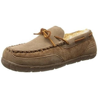 Old Friend Mens Camp Moccasin Slippers Suede Sheepskin