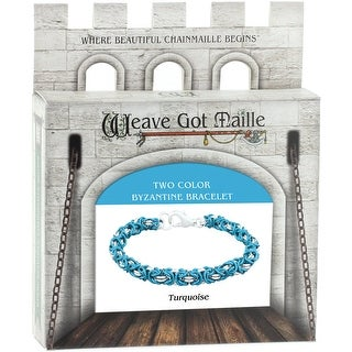 Chainmaile Byzantine Bracelet Jewelry Kit-Turquoise/Turquoise & Silver